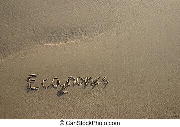 concepto, economía, gas, escrito, /, arena, CO2, invernadero...