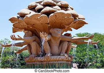 Gigantic monkey statues on fountain in famous Lost City -...