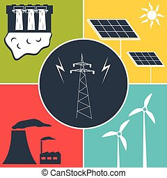 electric power flat icons