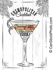 Cosmopolitan cocktail in vintage style stylized painted on...