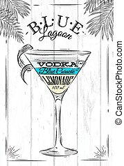 Blue lagoon cocktail in vintage style stylized painted on...