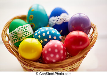 Easter eggs in basket - Assortment of Easter painted eggs