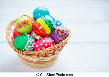 Decorative Easter eggs - Easter decorations in small basket