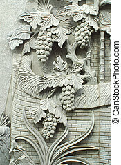 Grapes stone carving