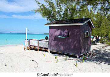 Colorful Cabana on tropical beach