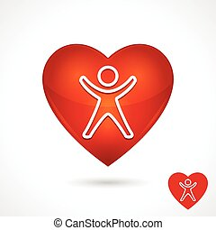 Health Vector Symbol With Heart Icon And Person - Health...