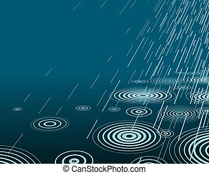 Night rain - Editable vector illustration of rain at night...