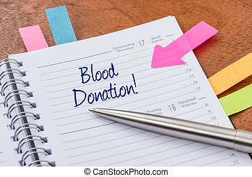 Daily planner with the entry Blood donation