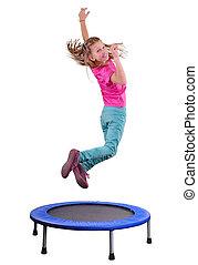 bastante, niña, ejercitar, y, Saltar, en, Un,...