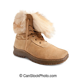 beige  fur  boot isolated on white background