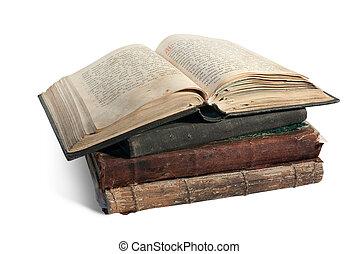 a, antigas, aberta, livro, cristão, Psalter