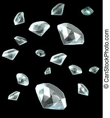 Diamond falling in black background