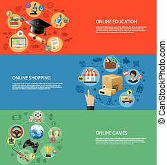 Set Banners of Online Internet Tech - Concepts for Online...
