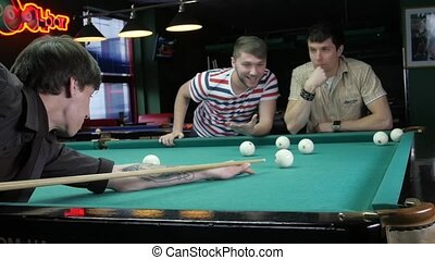 Group of guys rest: billiards game - Group of guys rest:...