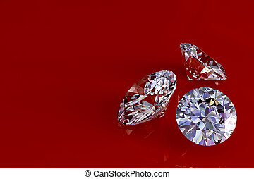 Three diamonds on red glossy background. High resolution 3D...