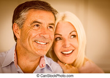 Happy mature couple smiling together