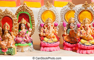 Goddess Lakshmi and Lord Ganesha - Colorful decorative...