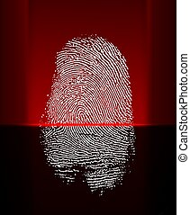 Thumb print scanning with red beam - Thumb print scanning...