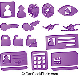 Security icons - Security icon button illustration set, 3d...