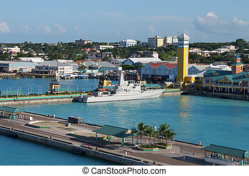 Nassau port - View of the port of Nassau with battleship and...