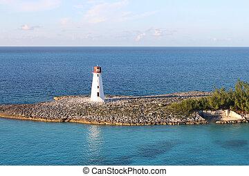 Nassau lighthouse - Lighthouse amongst turquoise blue sea at...