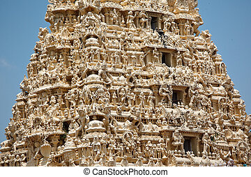 Gopuram tower of Hindu temple - Gopuram tower of ancient...