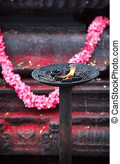 Burning flame in Hindu temple