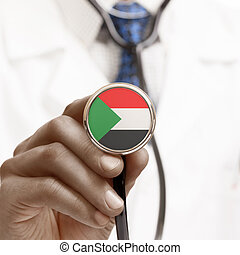 Stethoscope with national flag conceptual series - Sudan