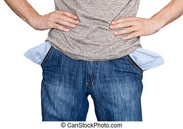 business bankrupt. empty pockets
