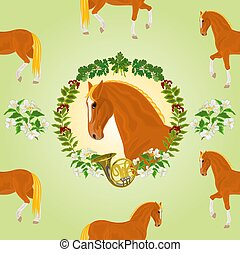 Sorrel horse head of stallion leaves and french horn hunting...
