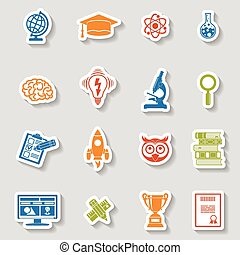 Education Icon Sticker Set - Online Education and E-learning...