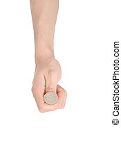 hand tossing a coin, isolated on white