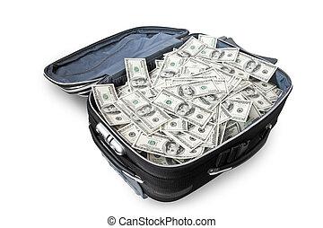 terreno, dinero, maleta