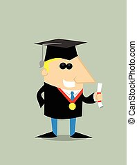 Cartoon graduating studen