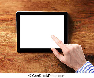 Finger Touching White Tablet Computer Screen