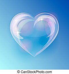 Shiny bubble heart on blue background Vector illustration
