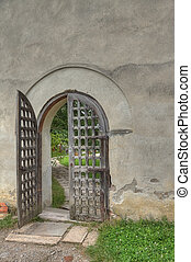 Open gate on a monastery in Greece