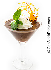 Chocolate mousse in a martini glass