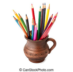 colored pencils in a clay jug isolated on white background