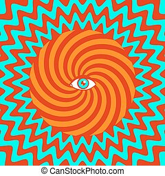 Hypnotic poster - Color hypnotic retro poster with eye