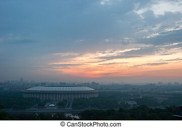 Russia, Moscow, Luzhniki, summer, sunset, aerial view
