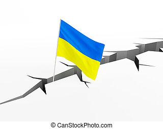 Ukraine, drapeau, Chutes, dans, a, crevasse, sur, les,...