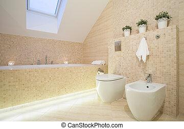 beau, salle bains, dans, beige, color, ,