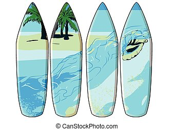 surf board. set of 4 surf boards isolated on white