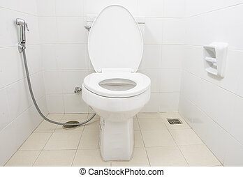 servicio, tazón, en, Un, moderno, bathroom.,