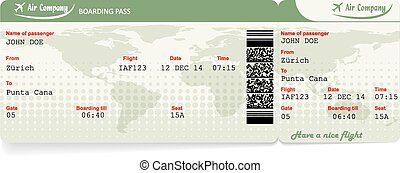 Vector image of airline boarding pass ticket with QR2 code...