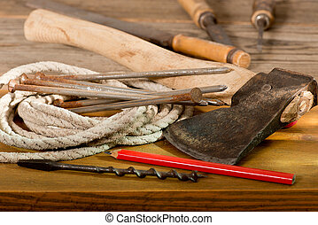 hatchet - still life and old hatchet and hand tools