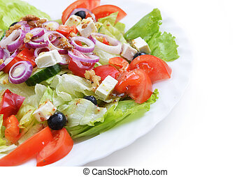 salad with fresh vegetables - salad with feta cheese and...
