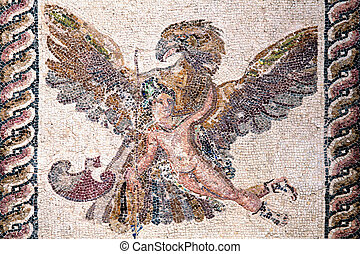 Roman mosaic of Ganymede and the Eagle from the ancient ruin...