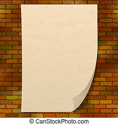 Paper sheet on brick wall - Sheet of old yellowed paper on a...